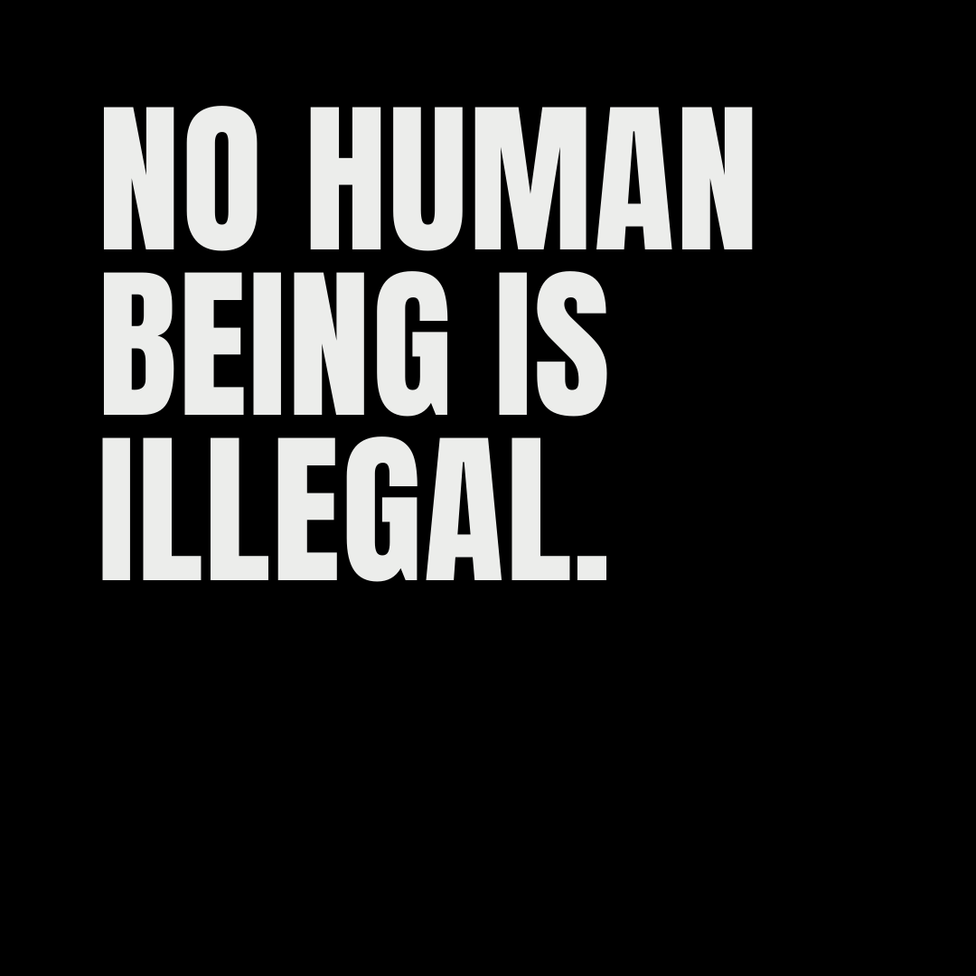 no human being is illegal - The Exploding Head, English quote